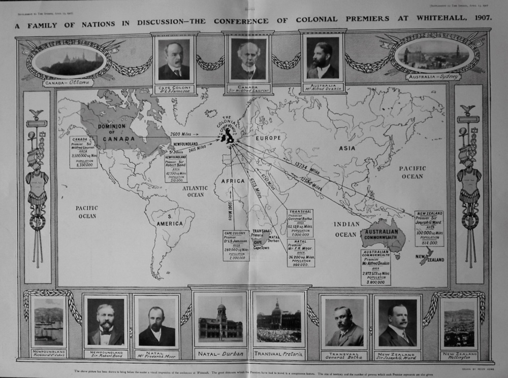 The Sphere, April 13th, 1907. (Supplement) : The British Family of Nations in Conclave : The Colonial Conference of 1907.