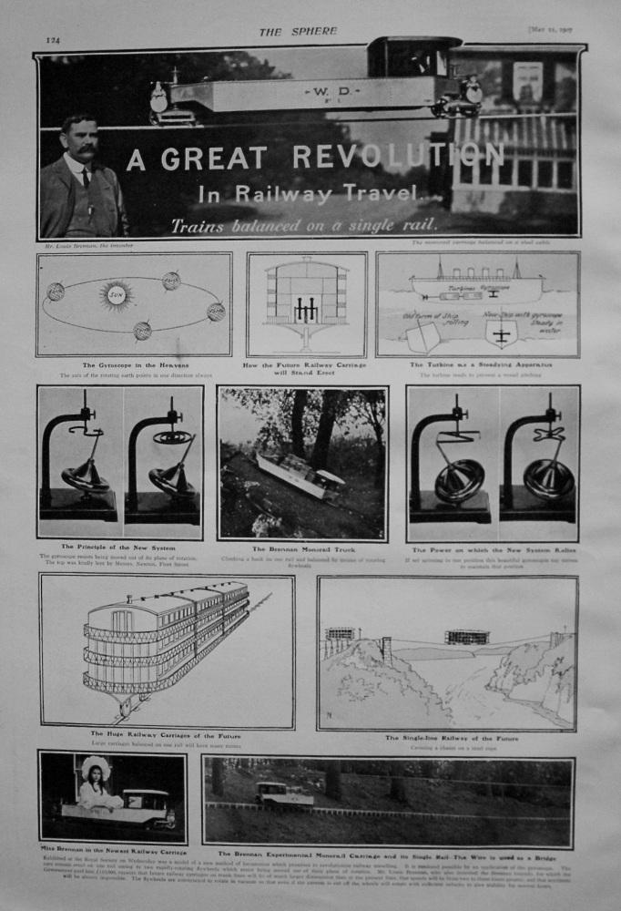 Great Revolution in Railway Travel : Trains Balanced on a Single Rail. 1907