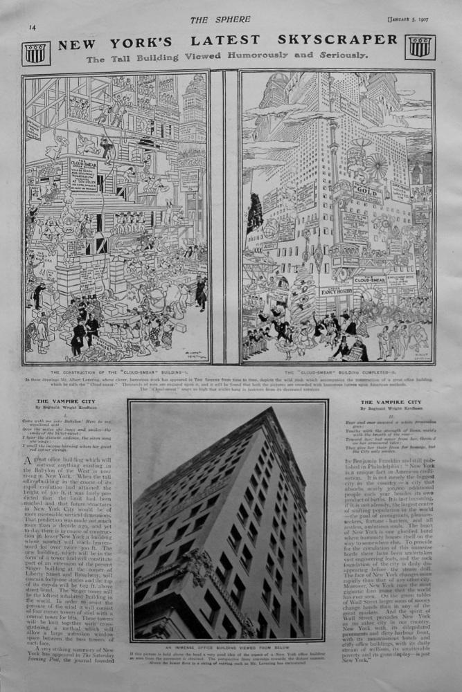 New York's Latest Skyscraper. 1907