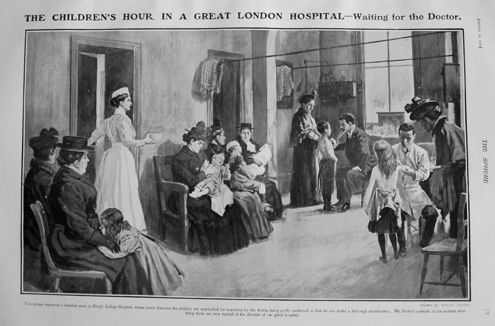 The Children's Hour in a Great London Hospital - Waiting for the Doctor. 1907