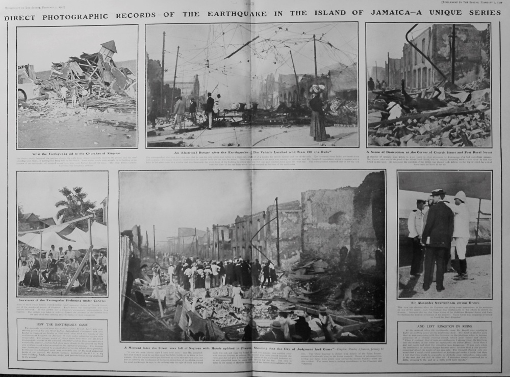The Sphere, February 9th, 1907, (Supplement) : A Unique Record of the Great Jamaica Earthquake.