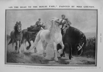 """On The Road To The Fair."" Painted by Miss Cheviot. 1907"
