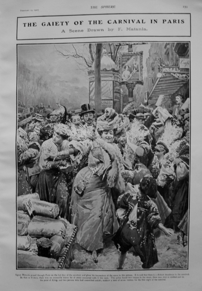The Gaiety of the Carnival in Paris. 1907