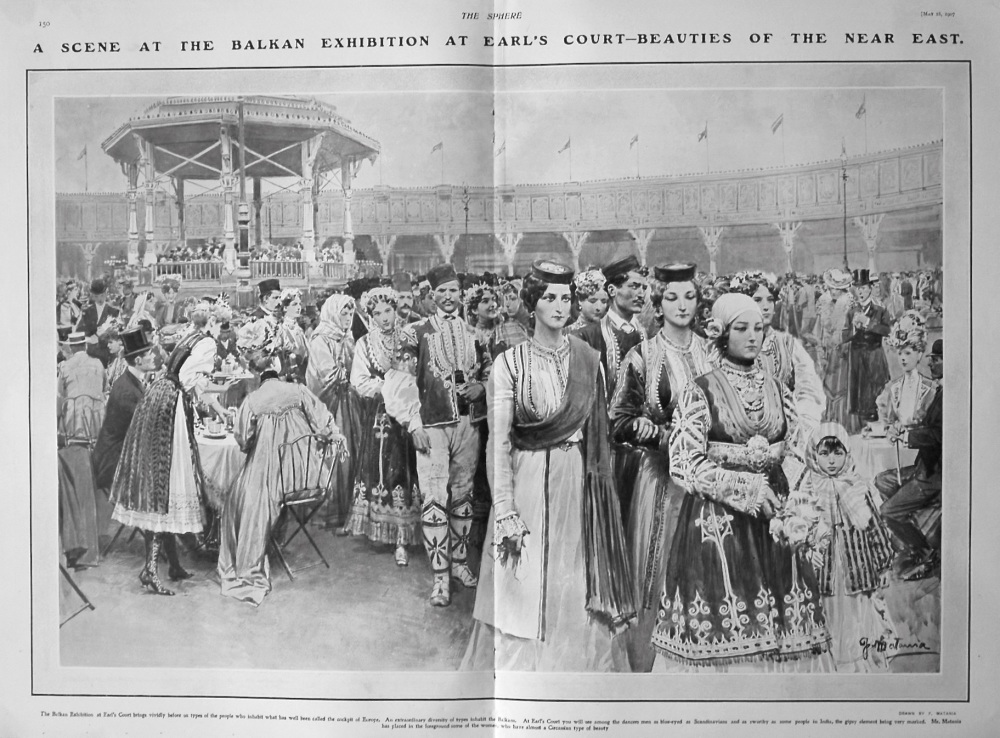 A Scene at the Balkan Exhibition at Earl's Court - Beauties of the near East. 1907.