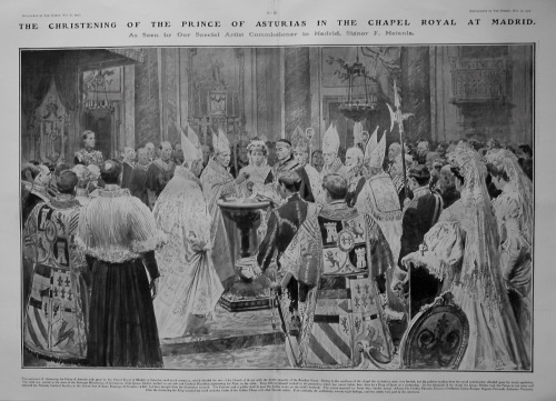 Christening of the Prince of Asturias in the Chapel Royal at Madrid. 1907