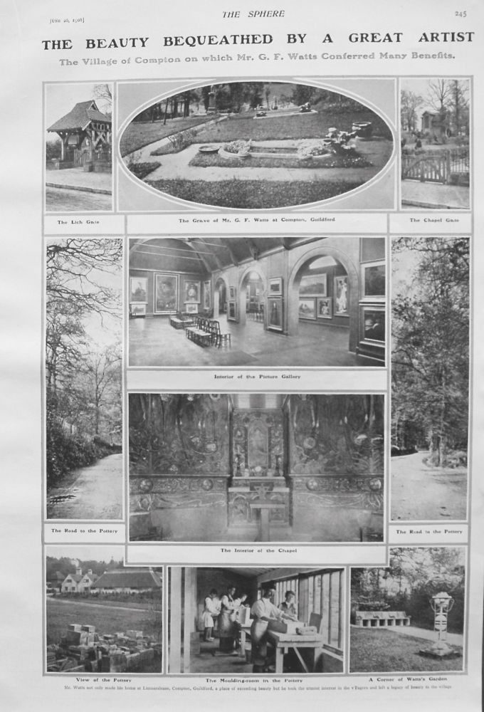 Beauty Bequeathed by a Great Artist : The Village of Compton on which Mr. G.F. Watts Conferred Many Benefits. 1908