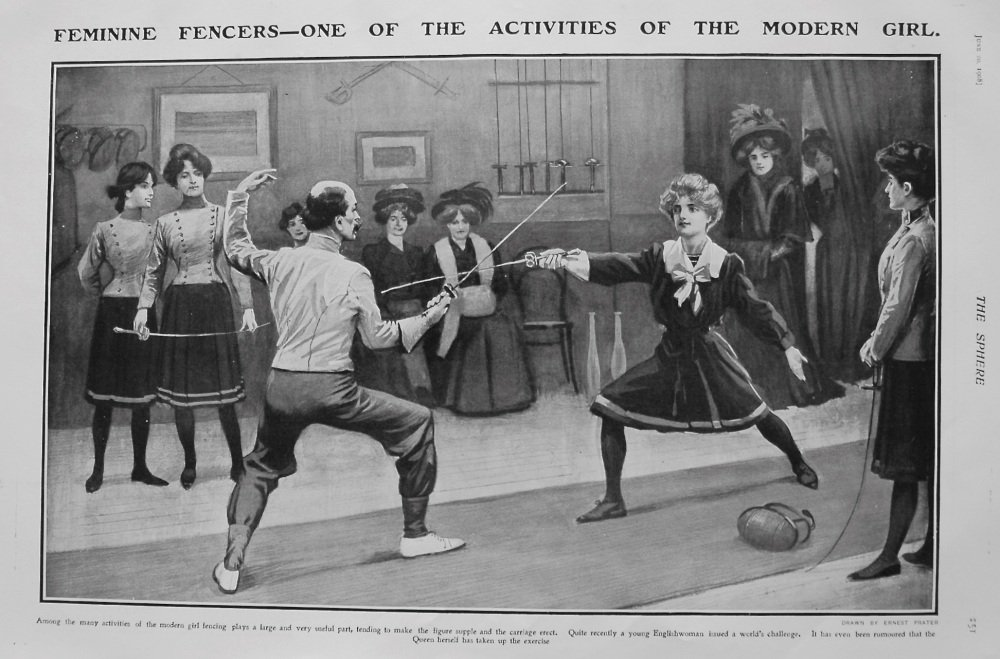 Feminine Fencers - One of the Activities of the Modern Girl. 1908