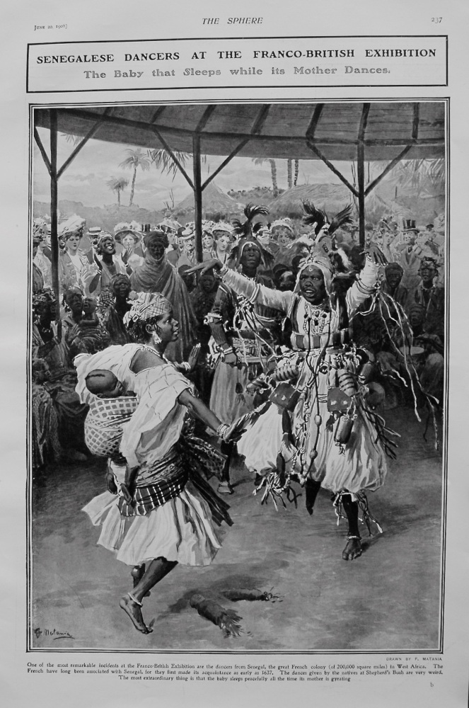 Senegalese Dancers at the Franco-British Exhibition : The Baby that Sleeps while its Mother Dances. 1908