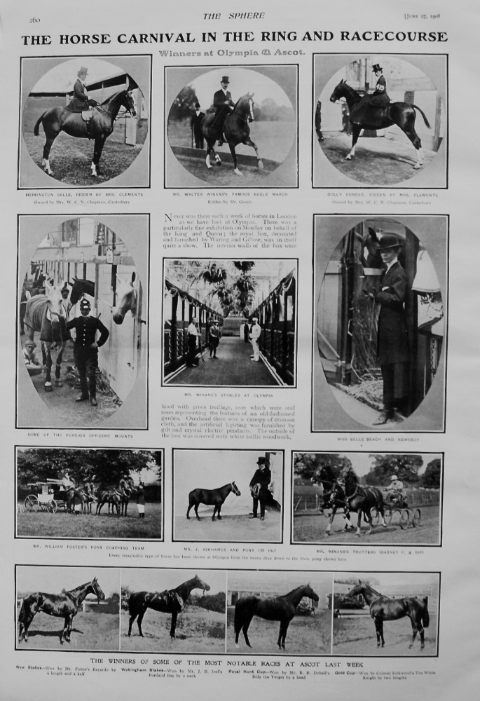 Horse Carnival in the Ring and Racecourse. Winners at Olympia and Ascot 1908.