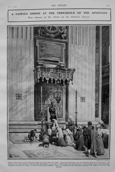 A Famous Shrine at the Threshold of the Apostles : The Statue of St. Peter in St. Peter's, Rome. 1908