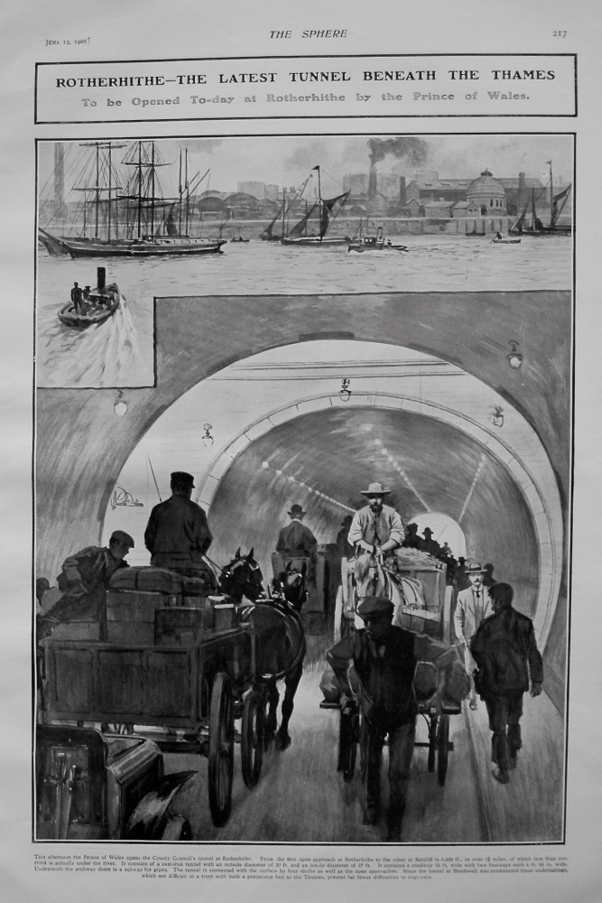 Rotherhithe - The Latest Tunnel Beneath the Thames. 1908