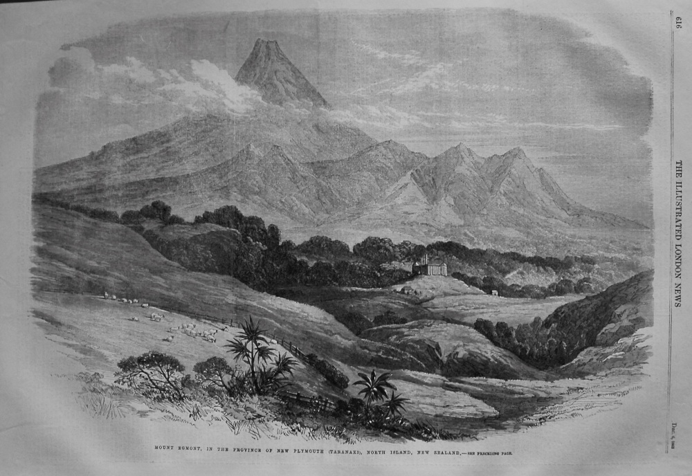 Mount Egmont, in the Province of New Plymouth (Taranaki), North Island, New Zealand. 1862