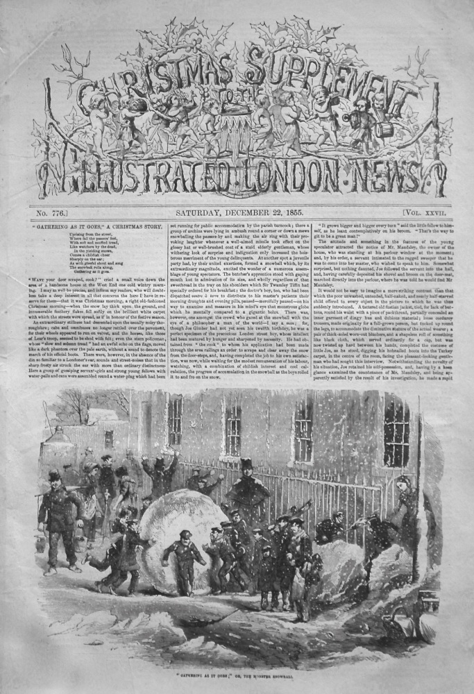 Christmas Supplement to the Illustrated London News,  December 22nd 1855.