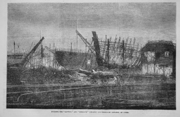 "Building the ""Lapwing"" and Ringdove"" Dispatch GunVessels by Gaslight, at Cowes. 1855"