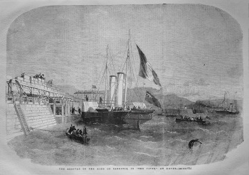"""Arrival of the King of Sardinia, in """"The Vivid,"""" at Dover. 1855"""