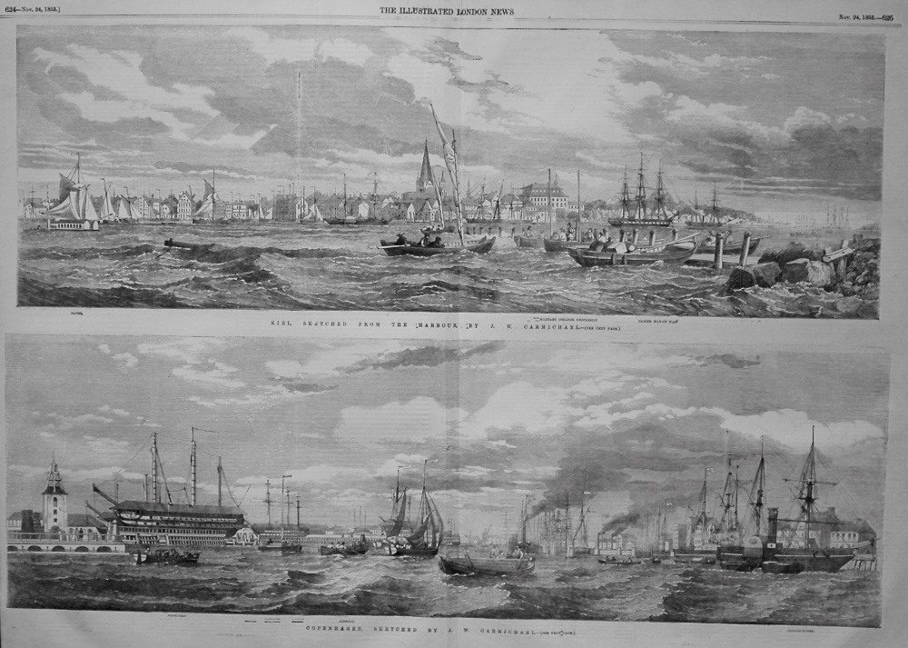 Kiel, Sketched from the Harbour by J.W. Carmichael. & Copenhagen, Sketched by J.W. Carmichael. 1855
