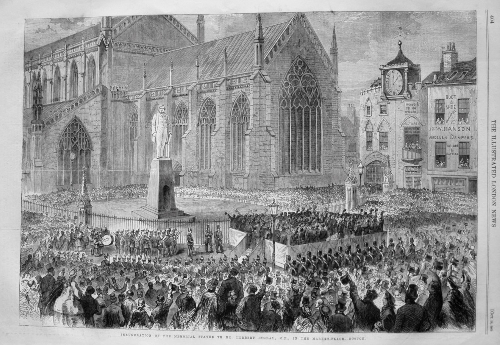 Inauguration of the Memorial Statue to Mr. Herbert Ingram, M.P., in the Market-Place, Boston. 1862