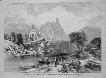 """Beilstein, on the Moselle.""- by J. D. Harding.- from the New Water Colour Exhibition. 1845"