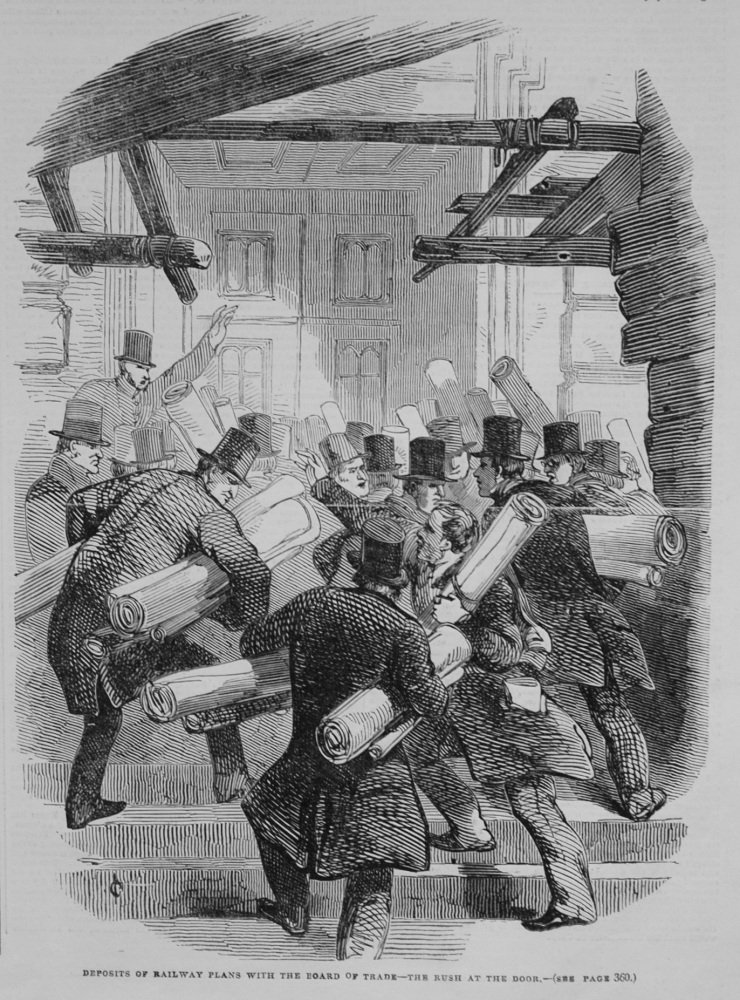 Deposits of Railway Plans with the Board of Trade - The Rush at the Door. 1845