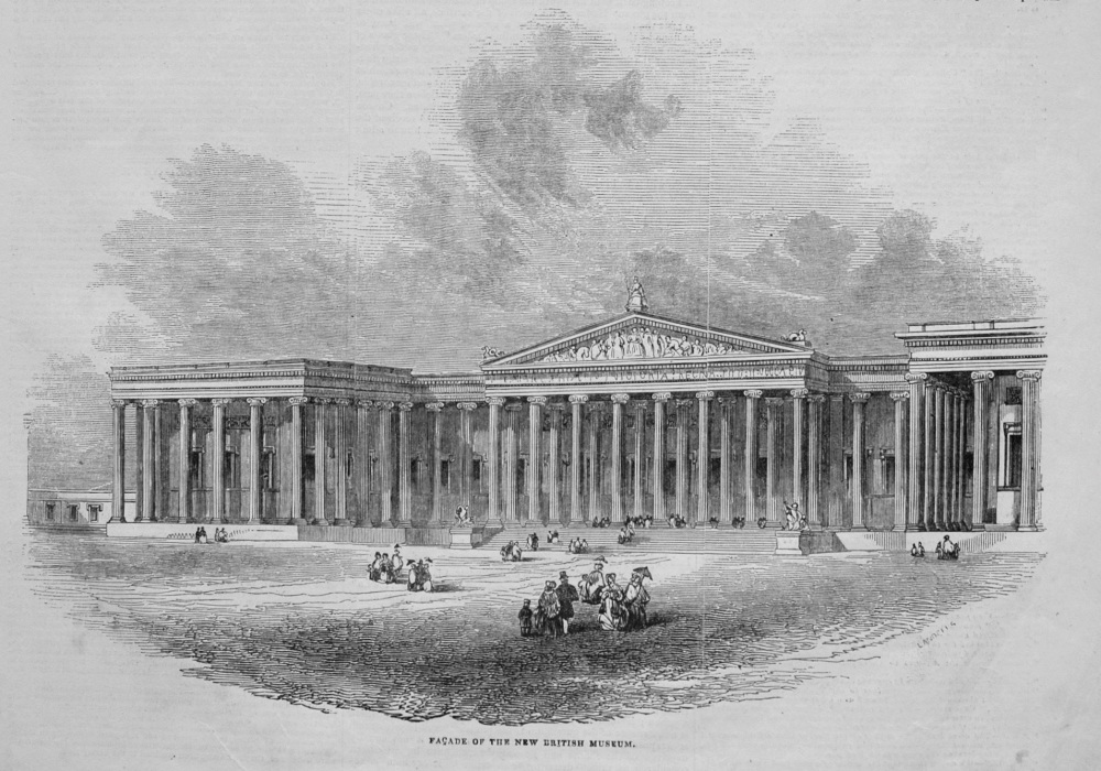 Facade of the New British Museum. 1845