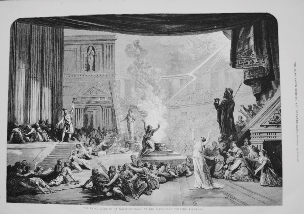 """The Trial Scene in """"A Winter's Tale,"""" at the Alexandra Theatre, Liverpool. 1876"""