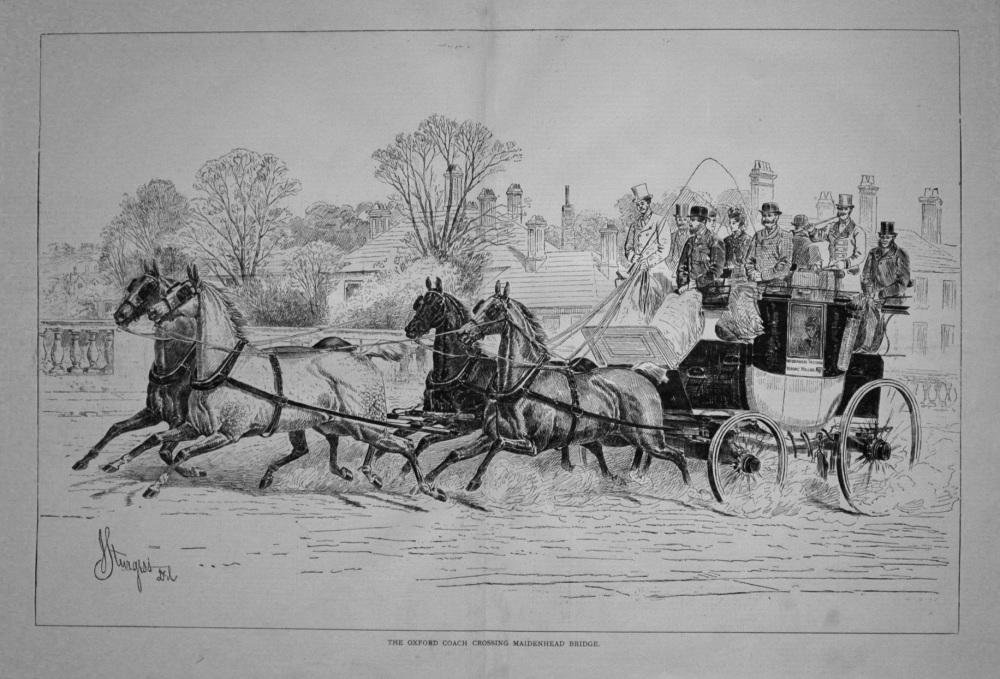 The Oxford Coach Crossing Maidenhead Bridge. 1876
