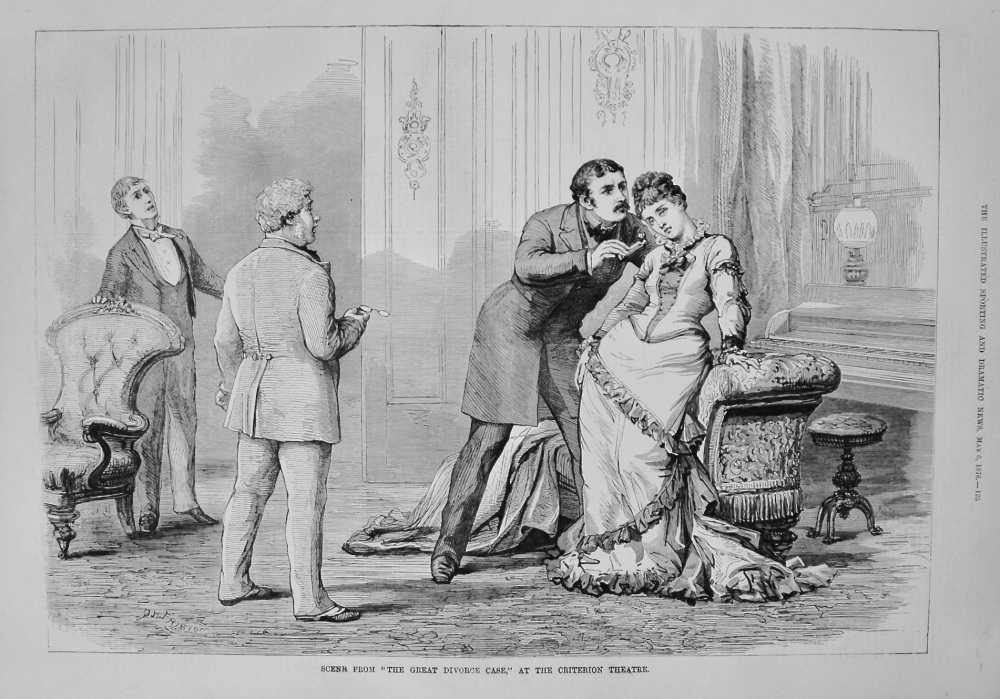 """Scene from """"The Great Divorce Case,"""" at the Criterion Theatre. 1876"""