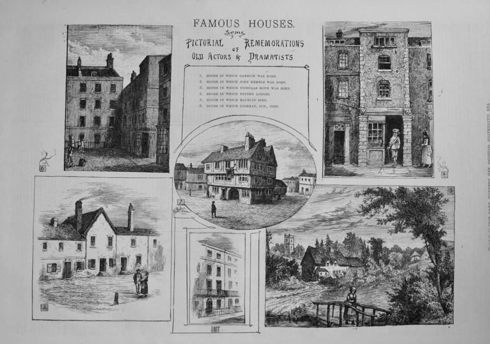 Famous Houses. Some Pictorial Rememorations of Old Actors & Dramatists. 1876