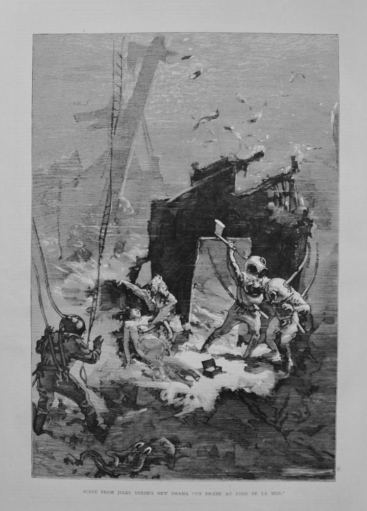"""Scene from Jules Verne's New Drama """"Un Drame Au Fond De La Mer."""""""
