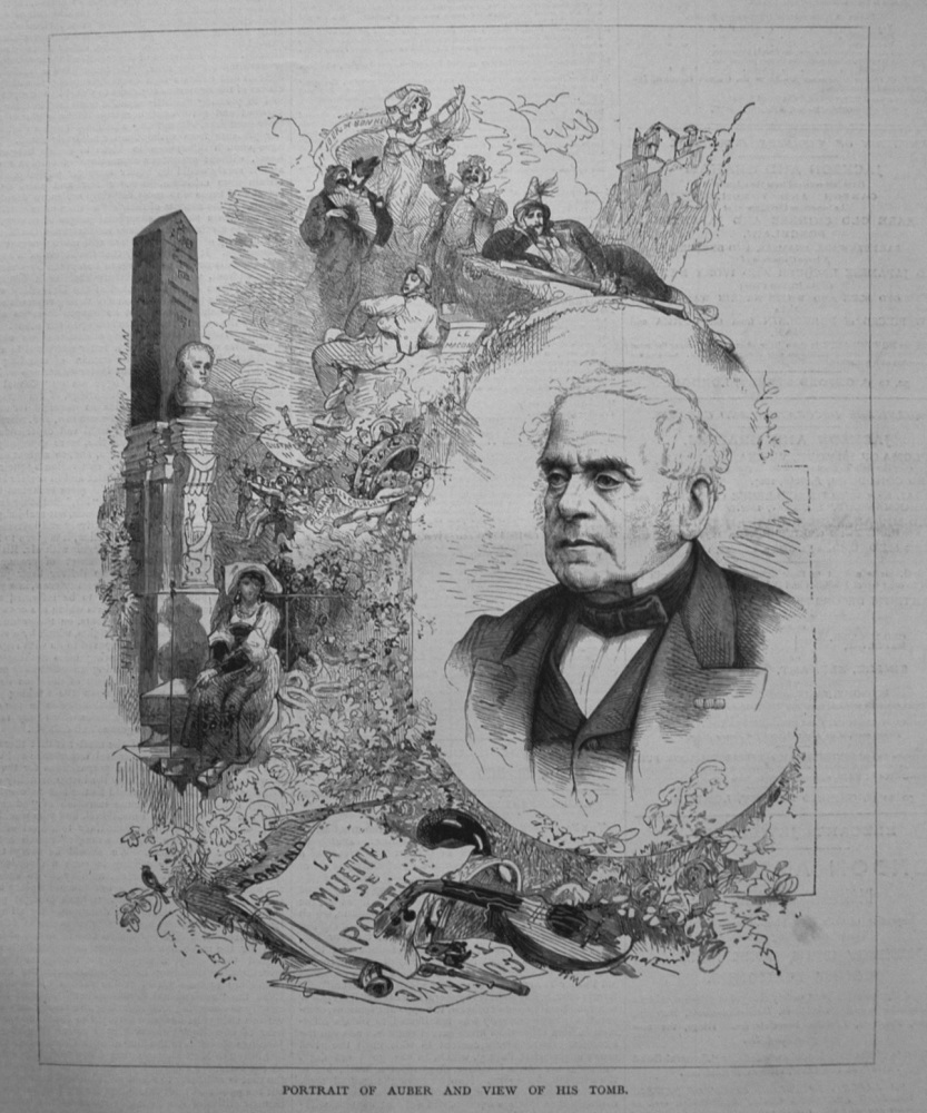 Portrait of Auber and View of his Tomb. 1877
