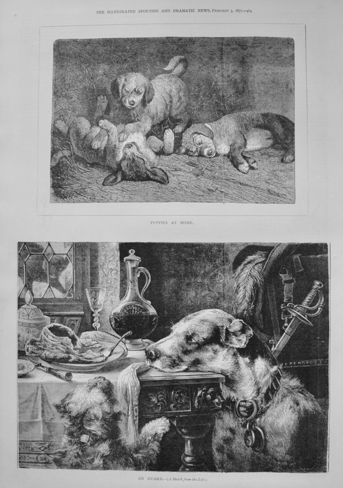 """On Guard"" and ""Puppies at Home."" 1877"