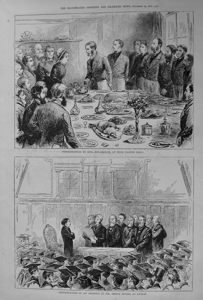 Presentation to Mrs. Saltmarsh, of High Easter Hall. 1876