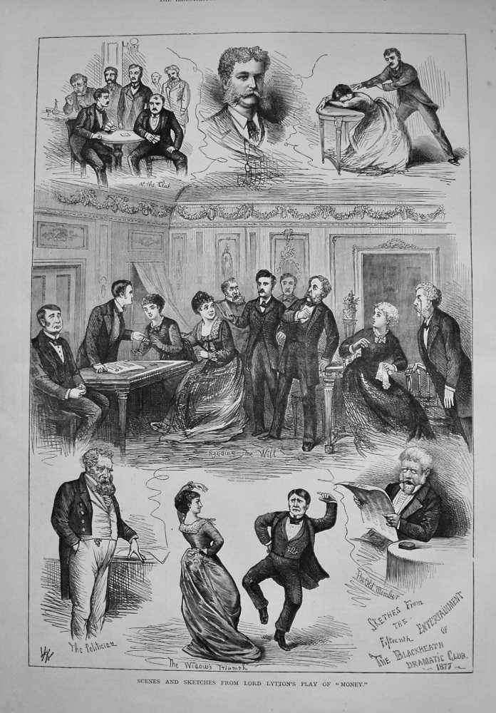 """Scenes and Sketches from Lord Lytton's Play of """"Money."""" 1877"""