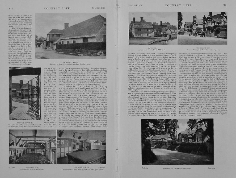 Village Halls and Village Life. (Iwerne Minster) 1921.