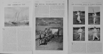 """The Royal Tournament of 1921."" ""The America's Cup."" and ""The Favourite Shots of Famous Players."" (Tennis Article)."