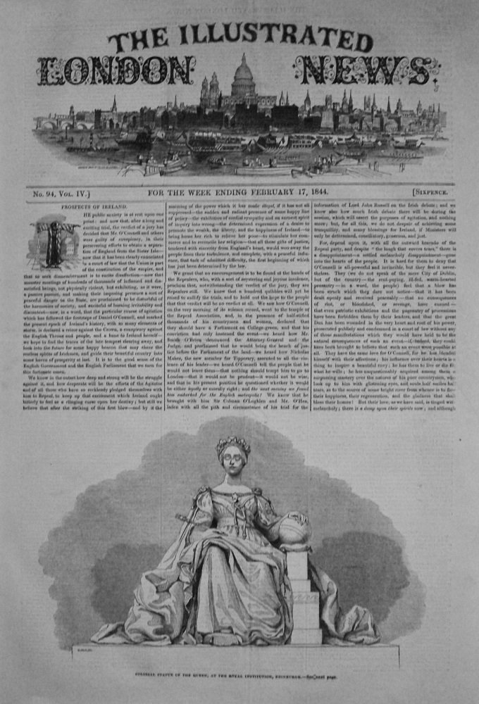 Colossal Statue of the Queen, at the Royal Institution, Edinburgh. 1844