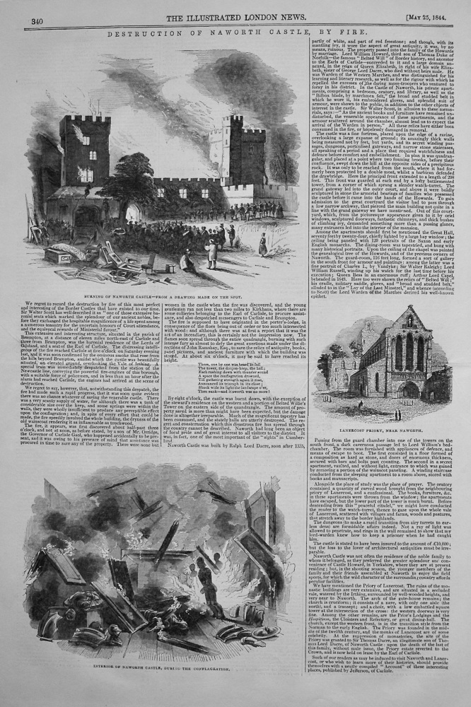 Destruction of Naworth Castle by Fire. 1844