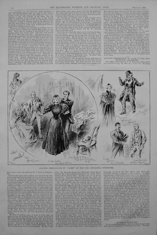 """Amateur Performance of """"Caste"""" at the Corn Exchange, Chichester. 1895"""