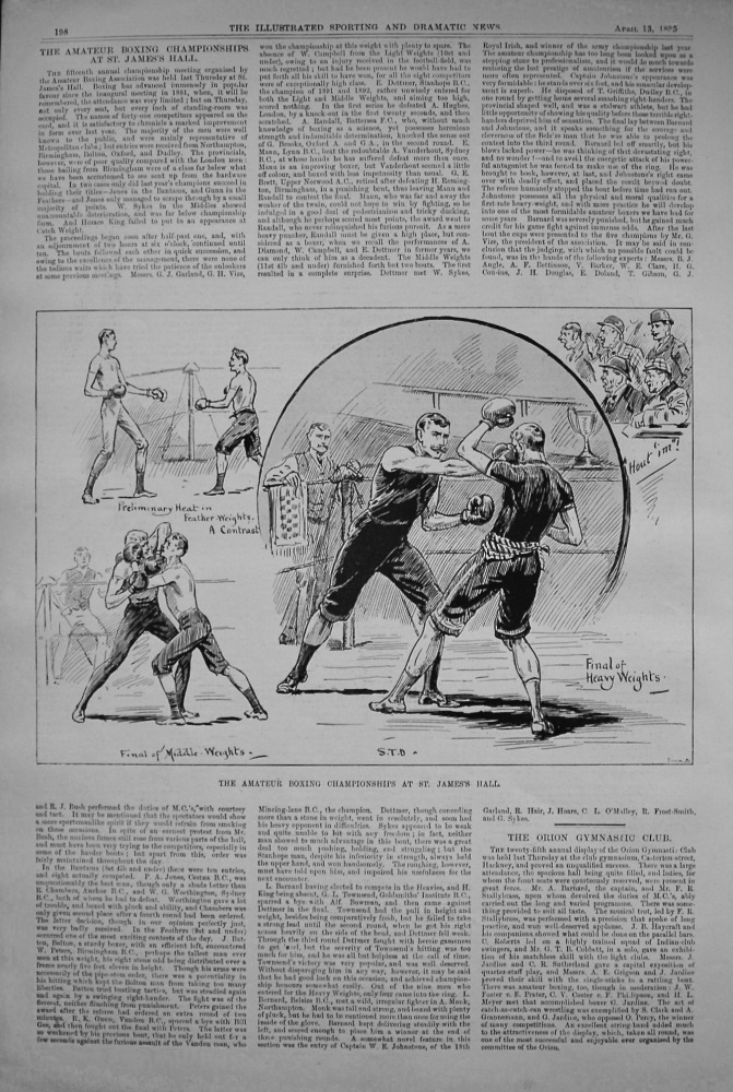 The Amateur Boxing Championships at St. James's Hall. 1895