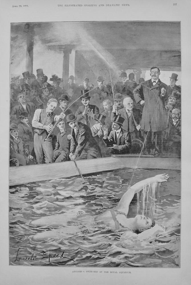 Anglers v. Swimmers at the Royal Aquarium. 1895