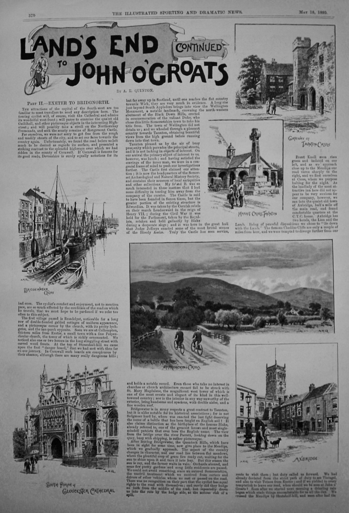 Land's End to John O'Groats (Cont.) Exeter to Bridgnorth. 1895
