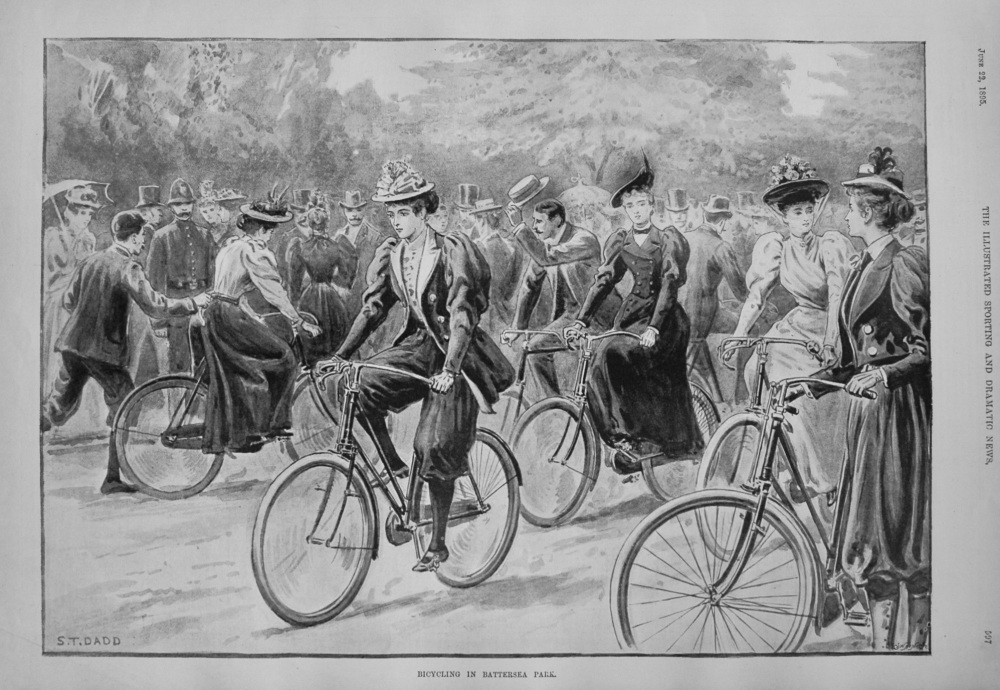 Bicycling in Battersea Park. 1895