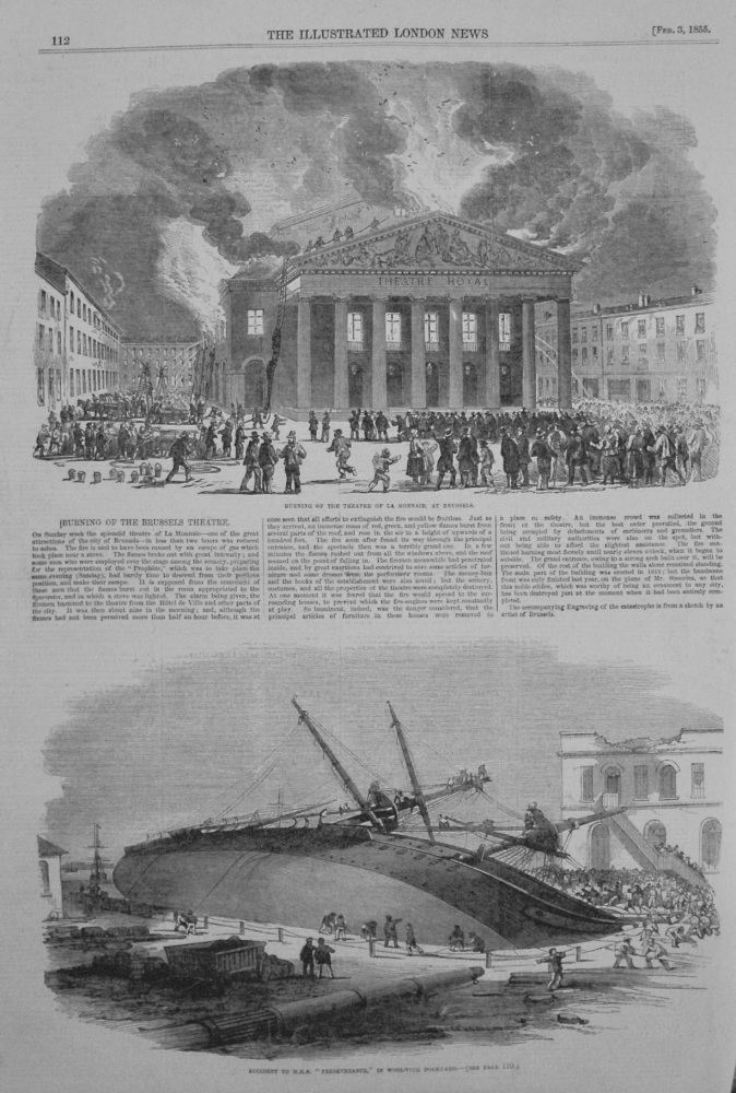 Burning of the Brussels Theatre. (La Monnaie) 1855