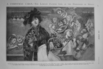 A Christmas Carol - The London Flower Girl as the Harbinger of Holly. 1902