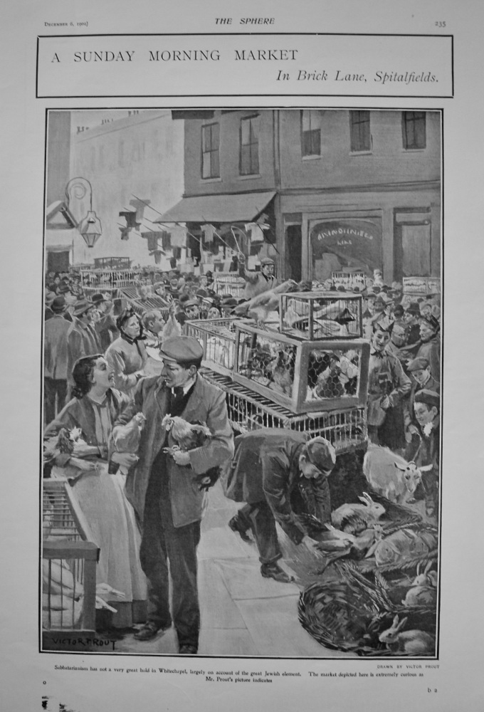 A Sunday Morning Market in Brick Lane, Spitalfields. 1902