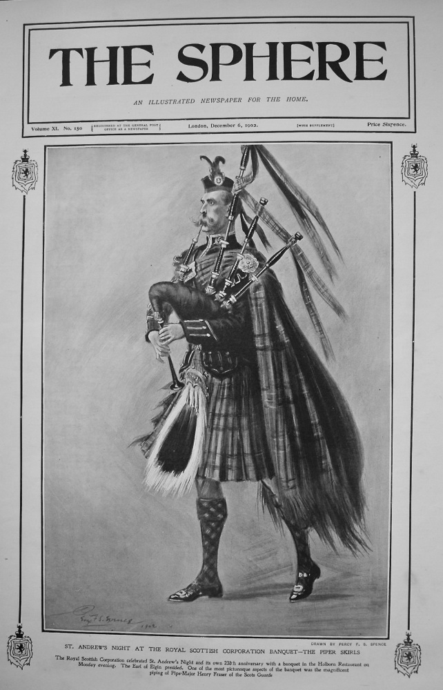 St. Andrew's Night at the Royal Scottish Corporation Banquet - The Piper Skirls. 1902