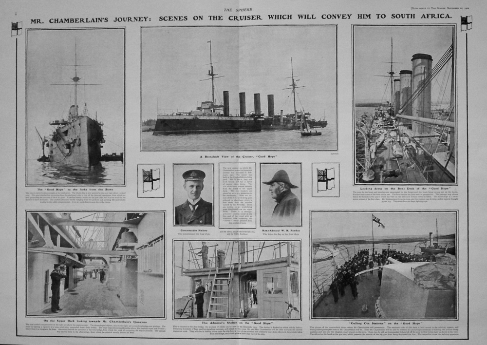 The Sphere, November 22nd, 1902.  (Supplement) : The Empire's Ambassador to South Africa - Mr. Chamberlain's Voyage of Good Hope. 1902