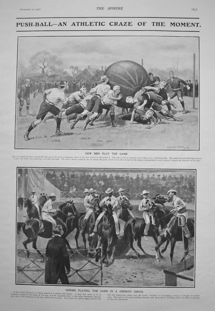 Push-Ball an Athletic Craze of the Moment. 1902