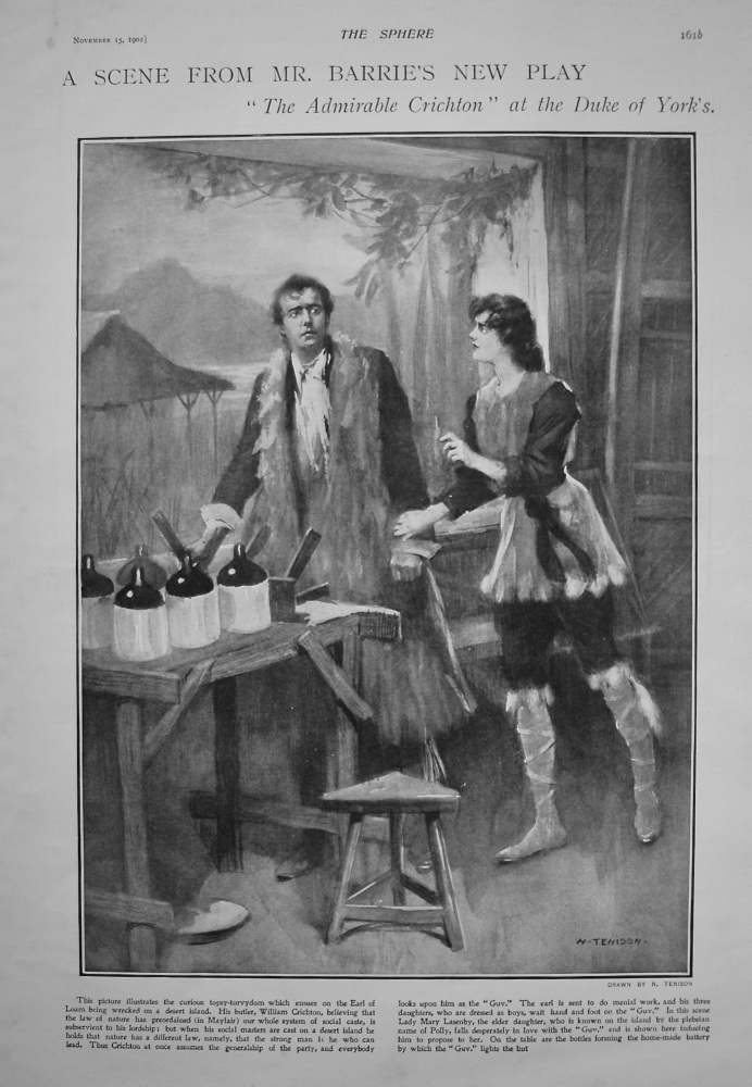 "A Scene from Mr. Barrie's New Play ""The Admirable Crichton"" at the Duke of York's. 1902."