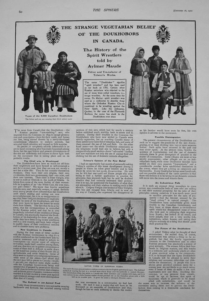 The Strange Vegetarian Belief of the Doukhobors in Canada. 1902